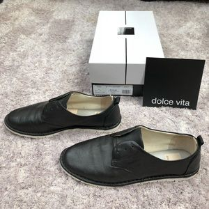 Dolce Vita Black Leather Slip On Sneakers